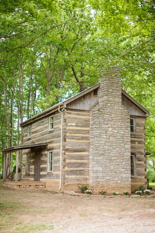 Cabin is nestled in the back of heavily wooded area of the farm. Back entrance used with personal code for entry.