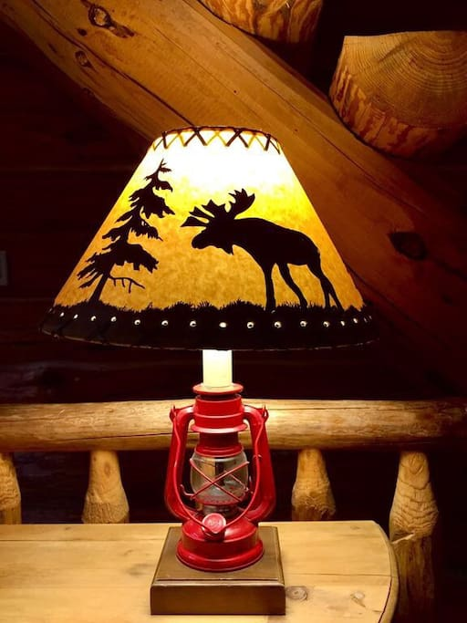 Cabin themed decor throughout