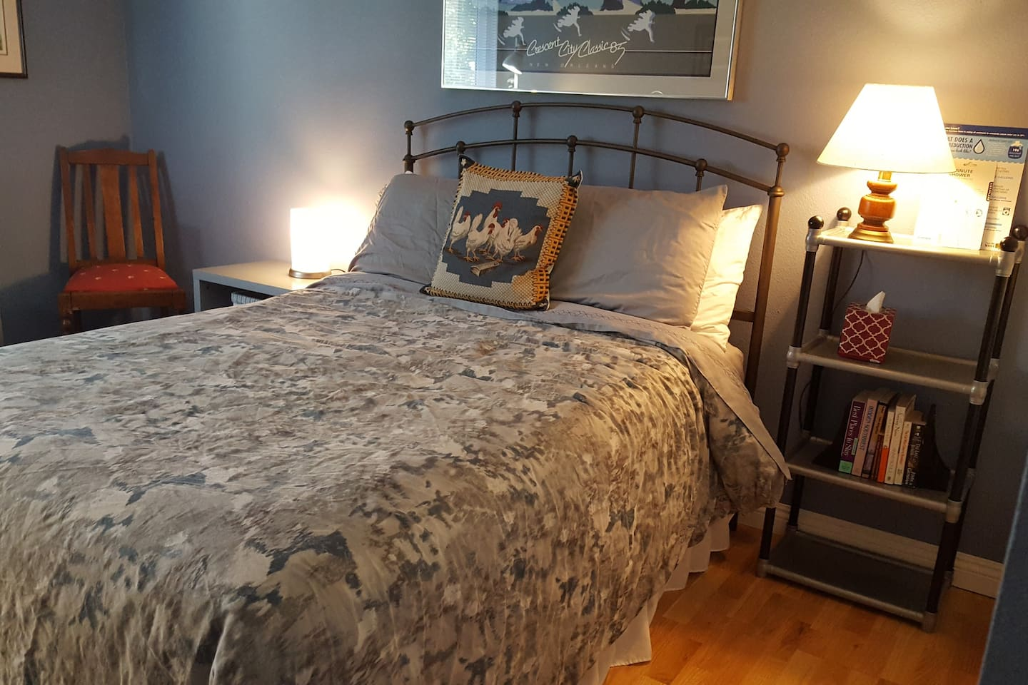 #Thousand Oaks Getaway: Plush linens  on a  full sized bed (not a Queen)for one or two people who like each other.