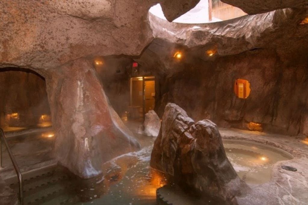 Hang out in this amazing, grotto-like hot pool