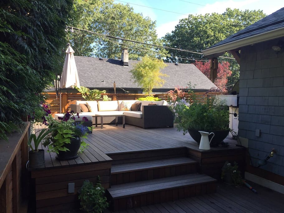 2 level Patio with seating for everyone, in the sun & shade!