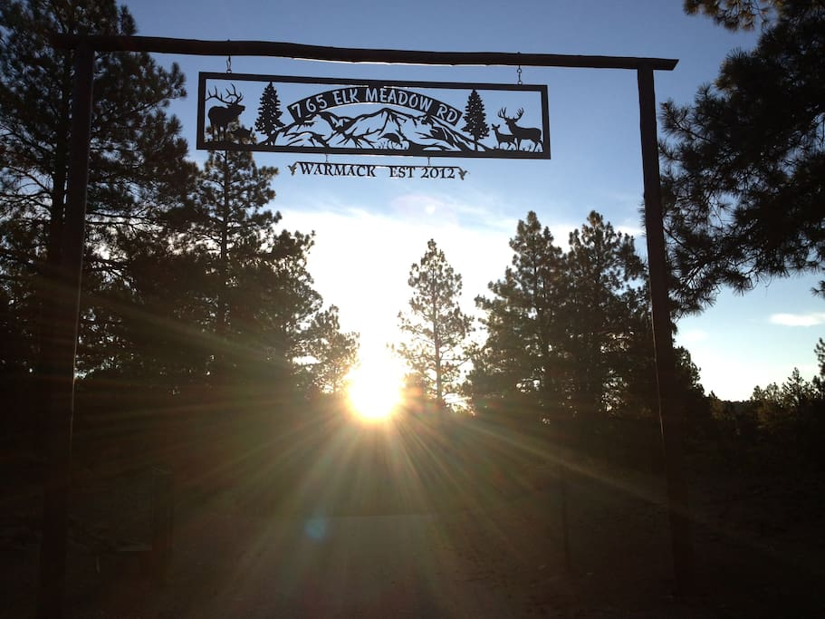 View through the ranch gate at sunrise