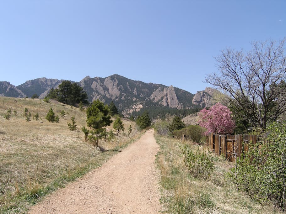 Behind our house - hiking trails to the Flatirons