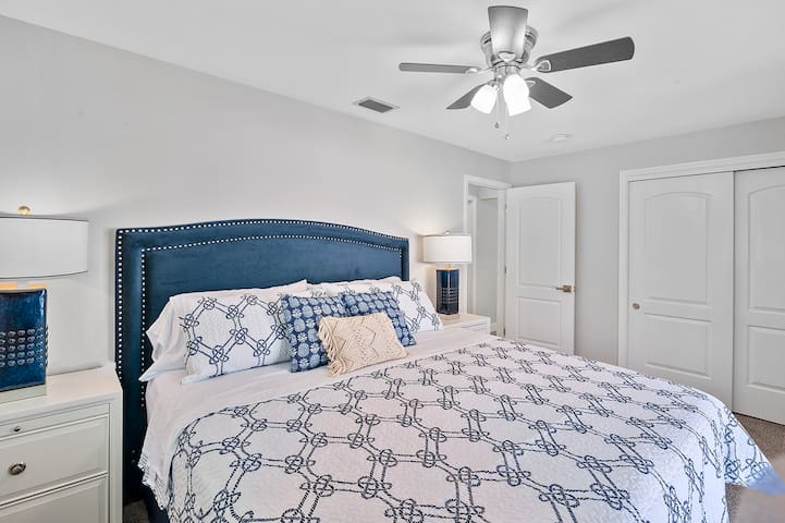 Bedroom #1: King bed w/ pillow top mattress, closet & ceiling fan.