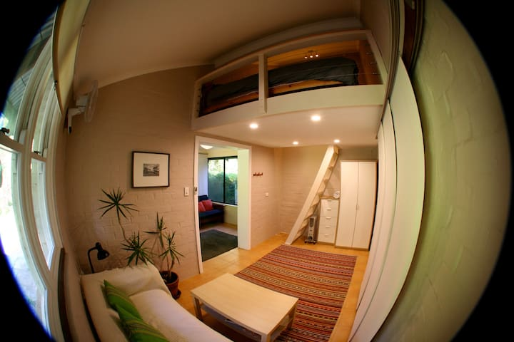 Loft bedroom+bathroom close to town