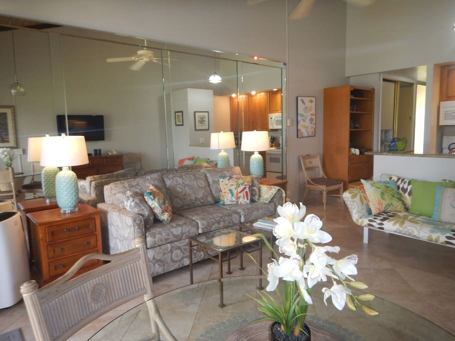 LR area with ceiling fan and A/C, new queen sofa bed and twin lounge.
