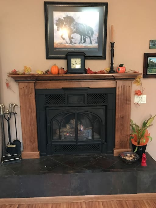 Cozy up to the fire and crack some nuts on the hearth in our mountain lodge.