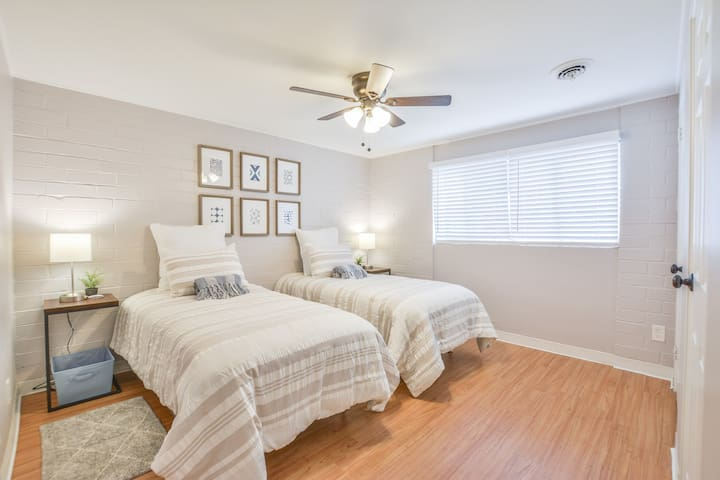 Bedroom 1. This is the largest bedroom with twin beds that can be fastened together to create a king size bed!