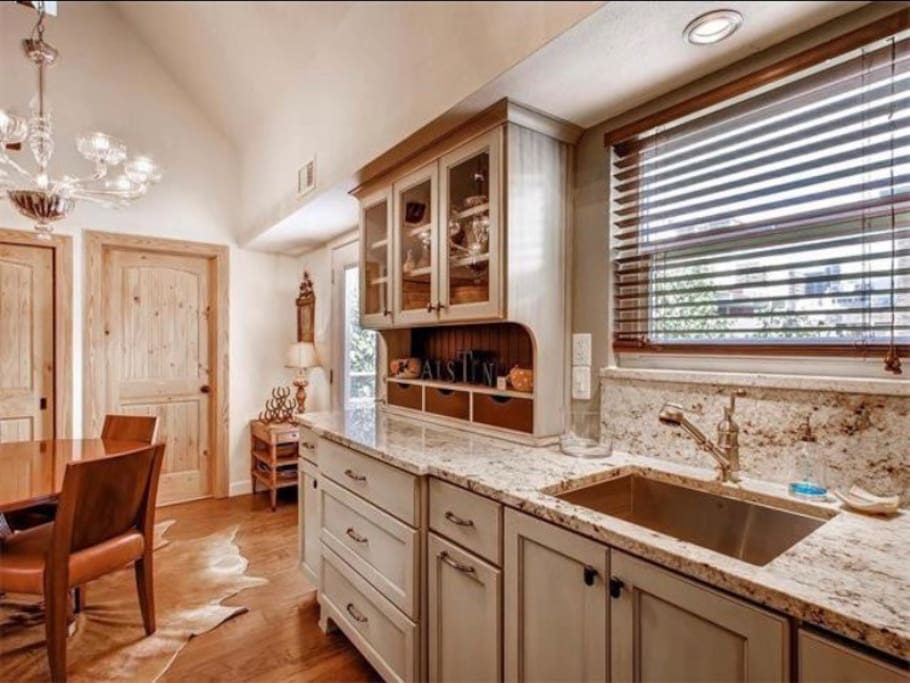 Custom Kitchen with views of downtown