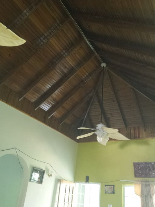 High hip ceiling with 2 hanging fans