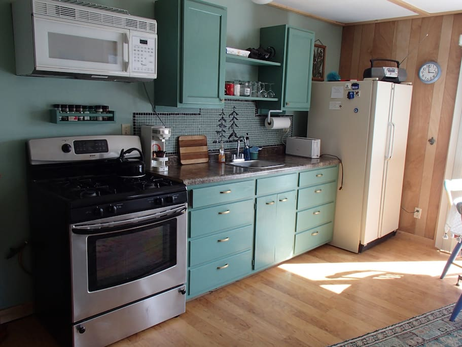 The kitchenette is small but fully supplied for your every need--or borrow from us!