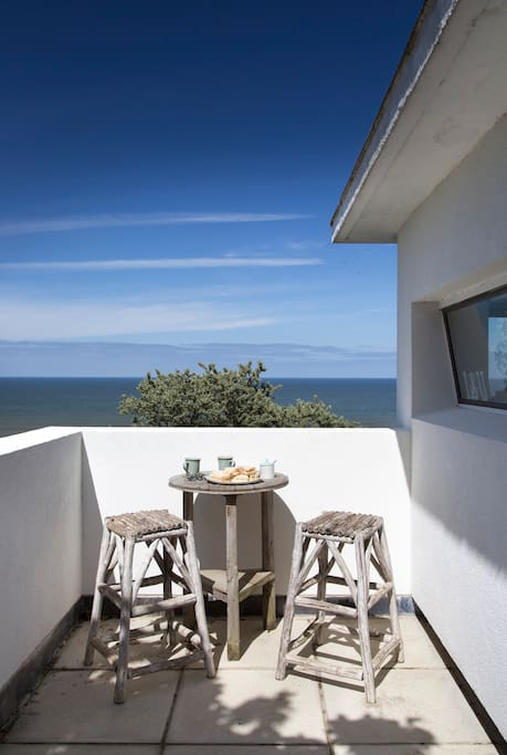 The private terrace looking out across the North Sea which can feel more like the Mediterranean on a sunny day!