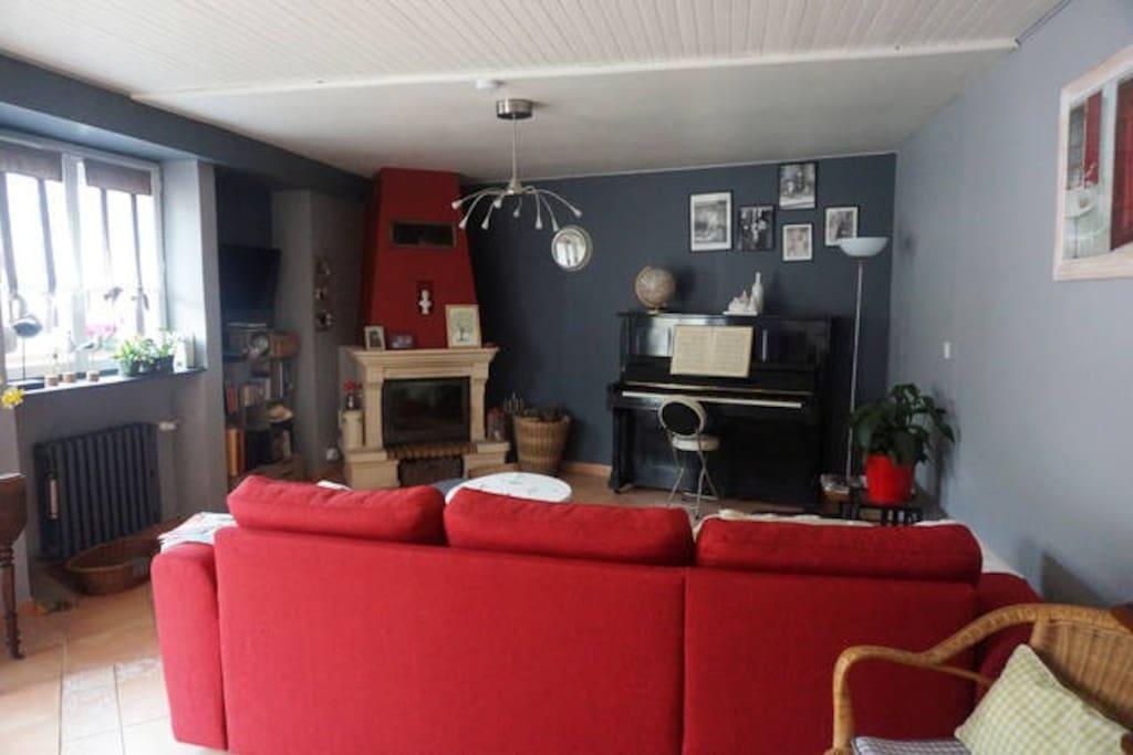 le salon cosy avec cheminée