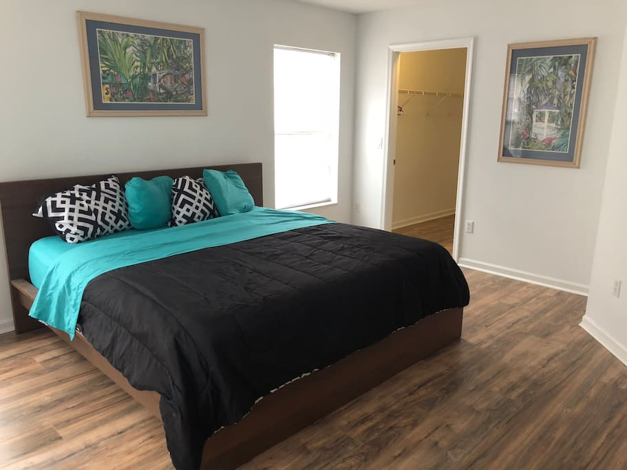 Private bedroom with King size bed and walk-in closet