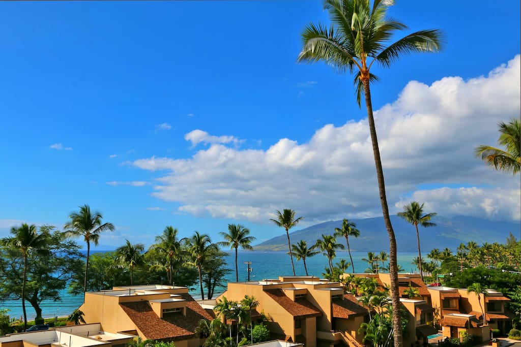 From the lanai, a beautiful view of the ocean, West Maui Mountains and the island of Lanai
