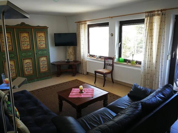 Appartement-Anlage Ferienland Sonnenwald (Schöfweg), Appartement Typ E (75qm) mit überdachter Terrasse mit Gartenmöbeln und 2 Schlafzimmern