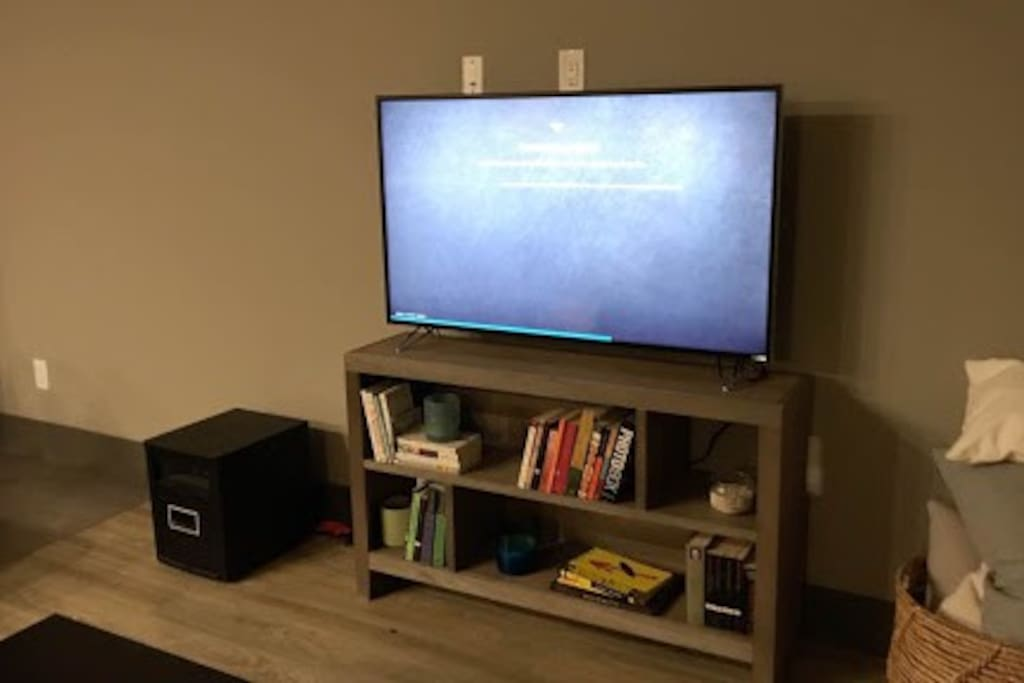 """New 50"""" Vizio smart tv. Features preset Netflix and Amazon Prime. Also pictured is a industrial space heater so guests are able to control the temperature to their preference. The space heater allows you to customize what degree you'd like the space to stay at."""