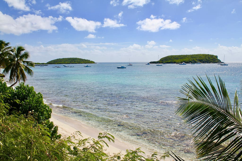 Just steps from the front door to your home here on Vieques is a tucked away beach and great snorkeling.