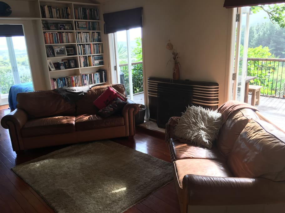 Lounge - leather sofas, fireplace, deck, tv, books
