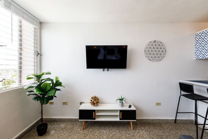 Our smart TV has Netflix and many apps for you to enjoy.