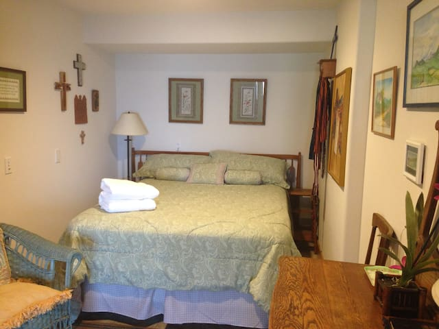 """Guest room #3 """"The Green Room"""" with queen bed"""