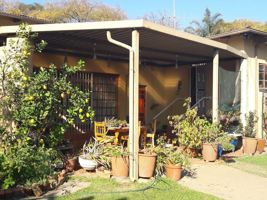 Lemons and orchids decorate the veranda