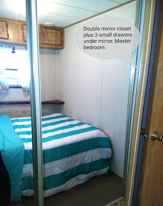 Master mirrored closets.