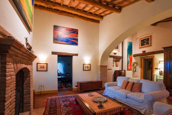 Luxury apartment with view of Assisi at L'Olmo