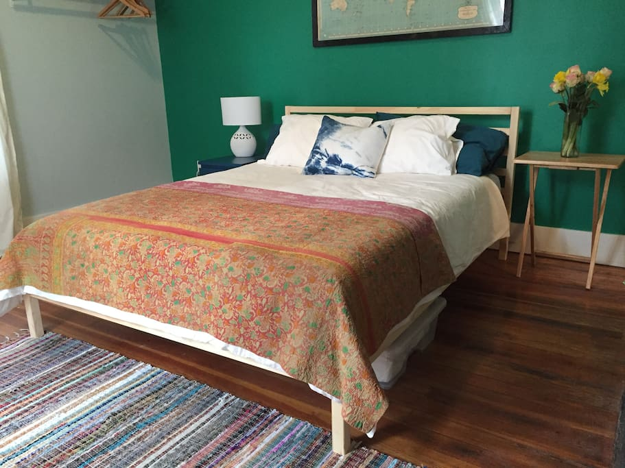 Queen size bed-  (With a brand new firm memory foam mattress!)