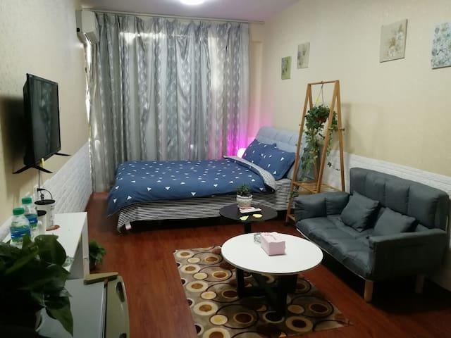 万象城 九方 万盛 市政府旁情侣主题公寓 情奢主义风一居室大床房,智能家电 可做饭
