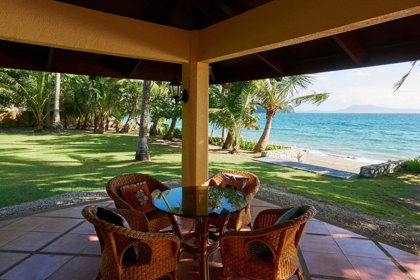 hangout in this lovely veranda looking over the beach