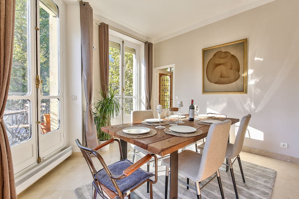 The  dining table for 8 people  ,  is very Sunny