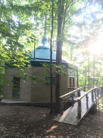 The 1BSI Oaktagon Tree House is a special place to spend your vacation on a quiet Maine lake island.