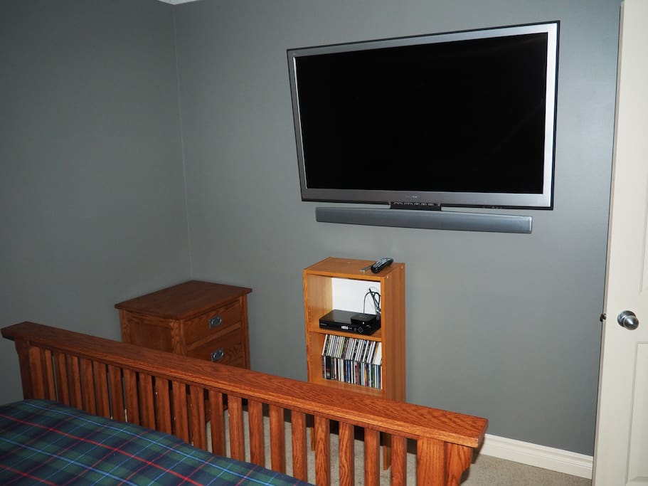 "Room has a, state-of-the-art, 52"" TV complete with HD cable and AppleTV."