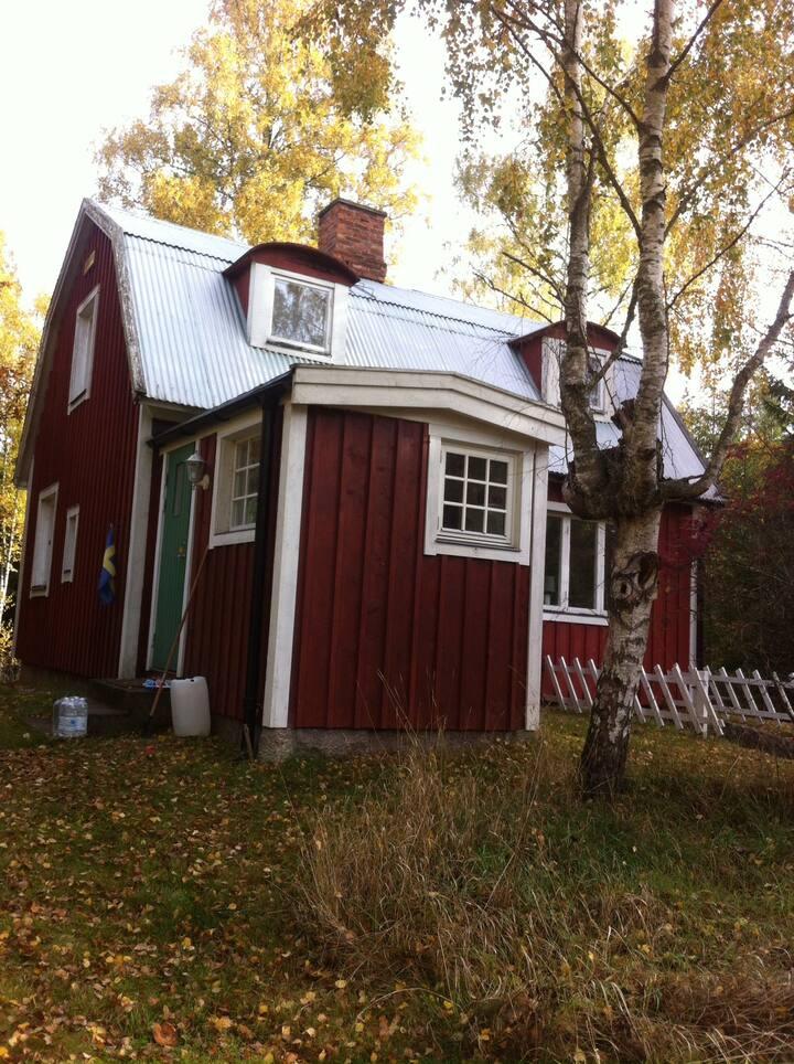 """Hyggeligt lille """"Torp"""" i den svenske skov."""