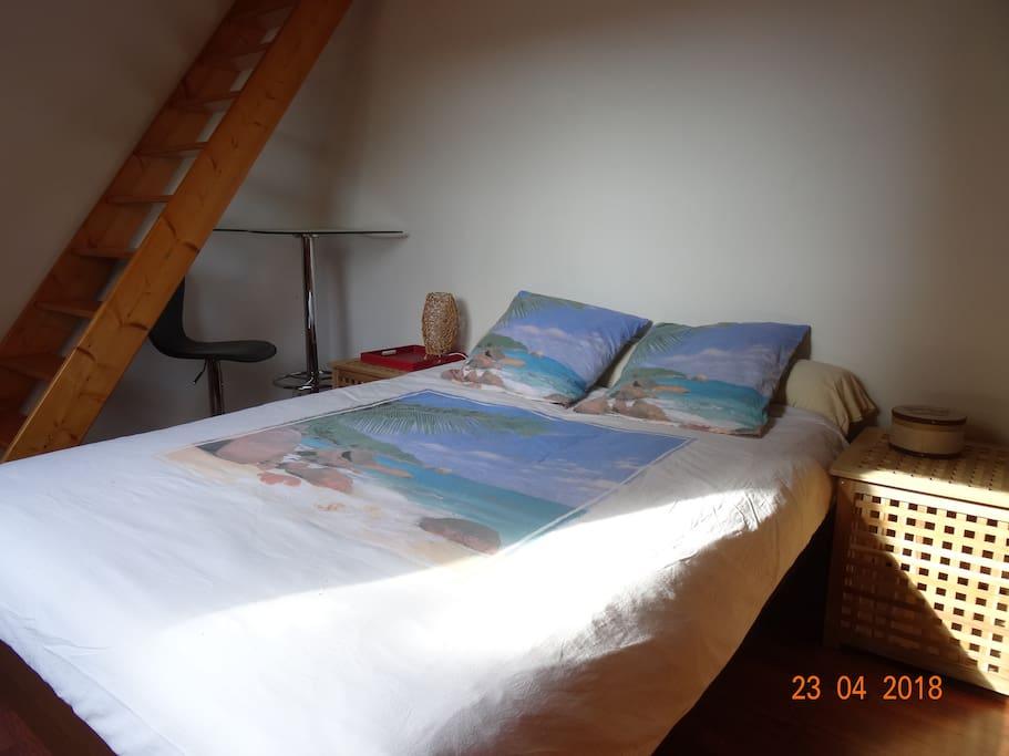 chambre 2 personnes lit Queen size + mezanine au dessus