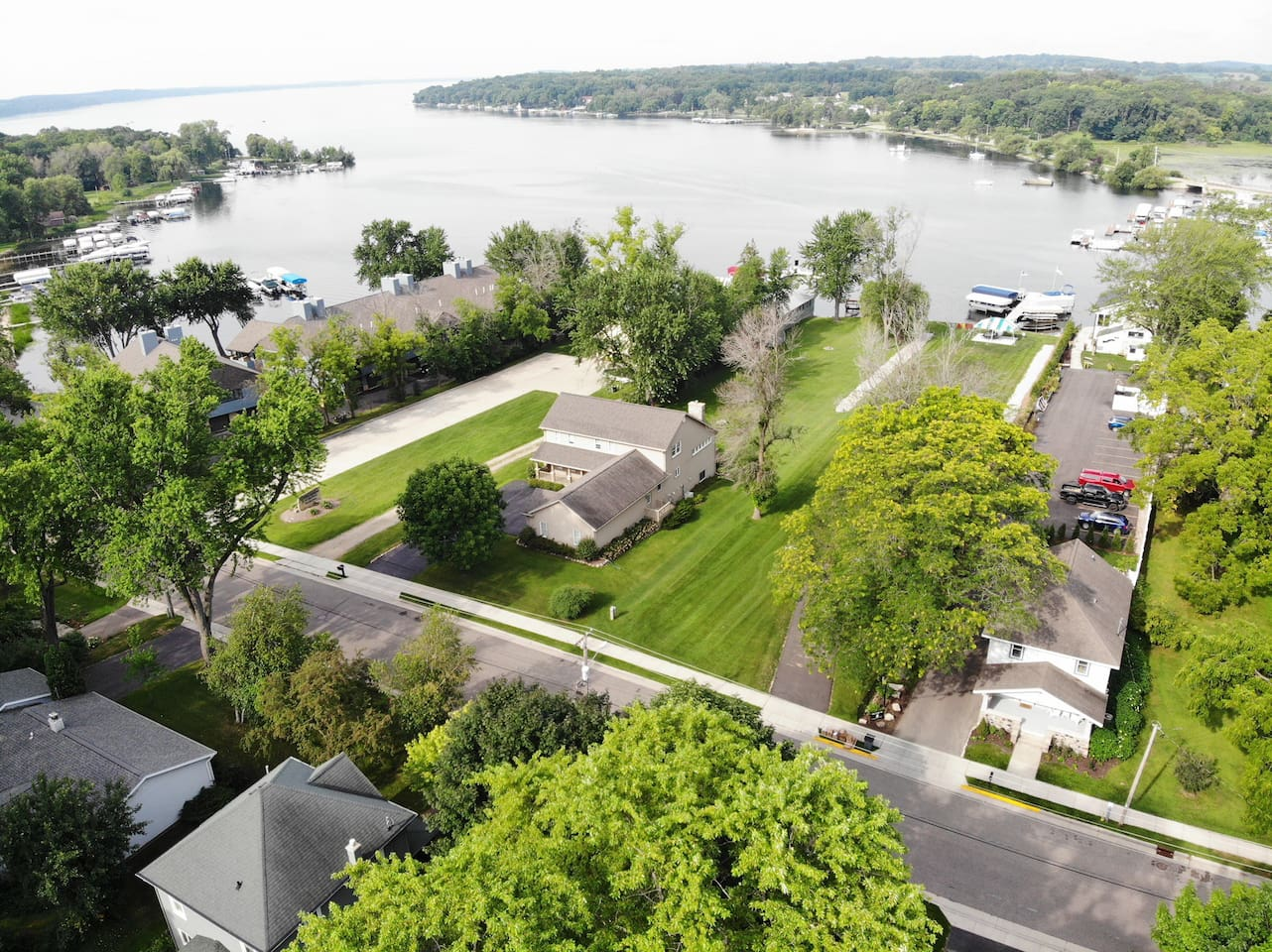 Note the distance from the house to the lake and access pier which surrounds the entire bay!