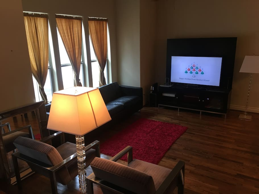 Shared living room area with cable TV