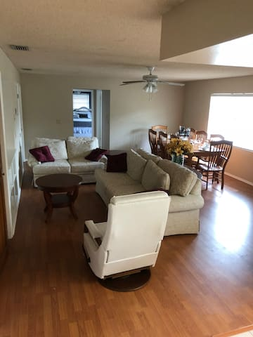 Large open living and dining room