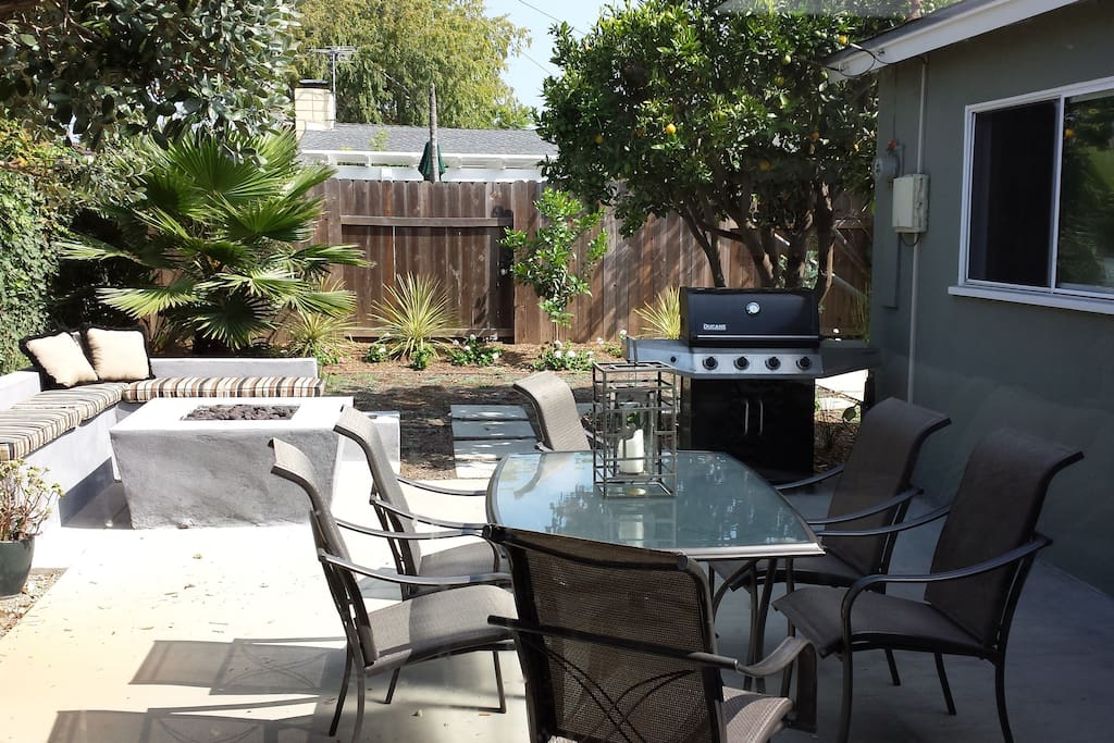 Shared patio with fire pit and BBQ
