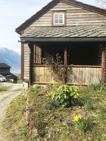 The old log cabin/front porch
