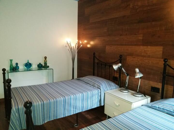 Twin beds with own private bathroom  &  fridge