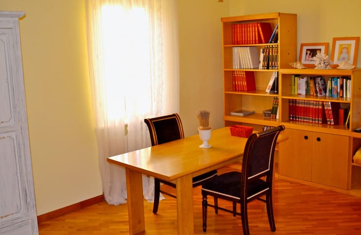 desktop and library in the room