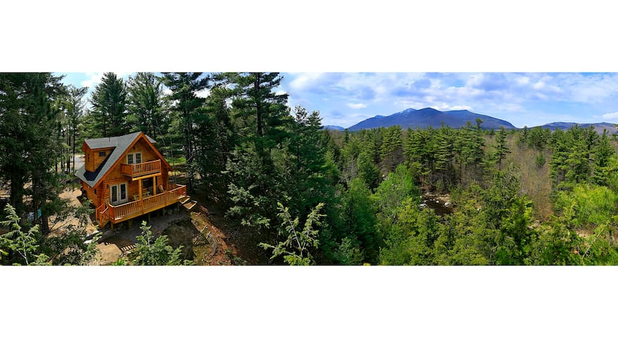 Adirondack riverfront log chalet w/ mountain views
