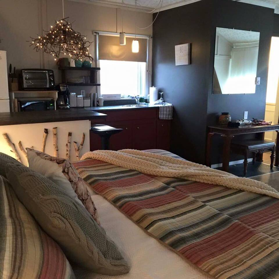 You will so love this little getaway! Oasis some say, whimsical, twinkle light, campfire friendly getaway. Cozy up in our spacious one bedroom loft studio style space! Stay with us in the LOFT @omishousebnb!