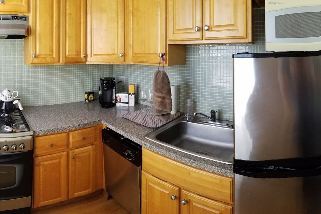 Kitchen with coffee maker - help yourself to some K-Cups!