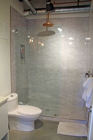 Bathroom with stand up shower and patina rain head.