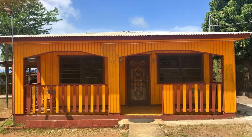 The yellow house close to the sea