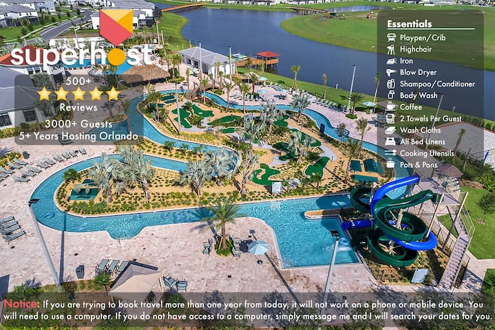 D2-NO AIRBNB FEES! 5 Mile 2 Disney-FREE Water Park