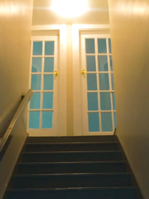 The front door opens up to a bright and airy second floor home.